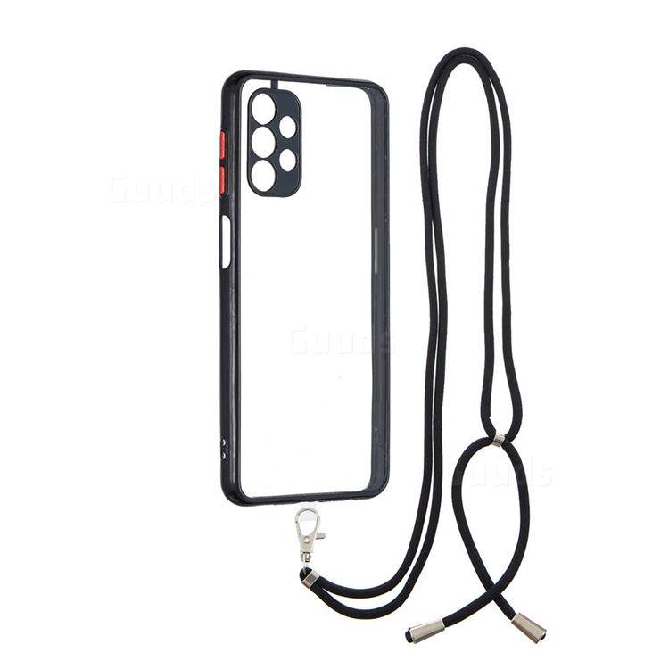 Necklace Cross-body Lanyard Strap Cord Phone Case Cover for Samsung Galaxy A32 5G - Black