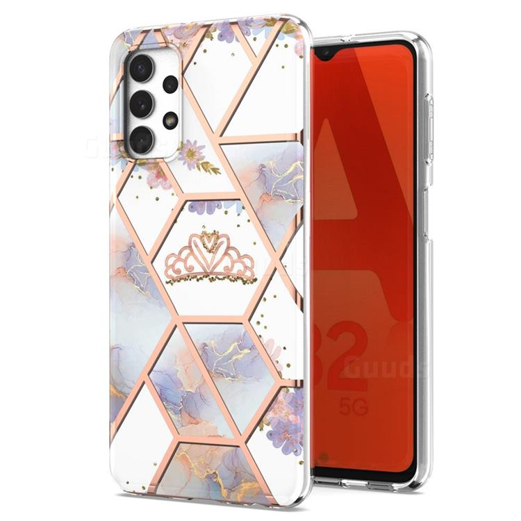 Crown Purple Flower Marble Electroplating Protective Case Cover for Samsung Galaxy A32 5G