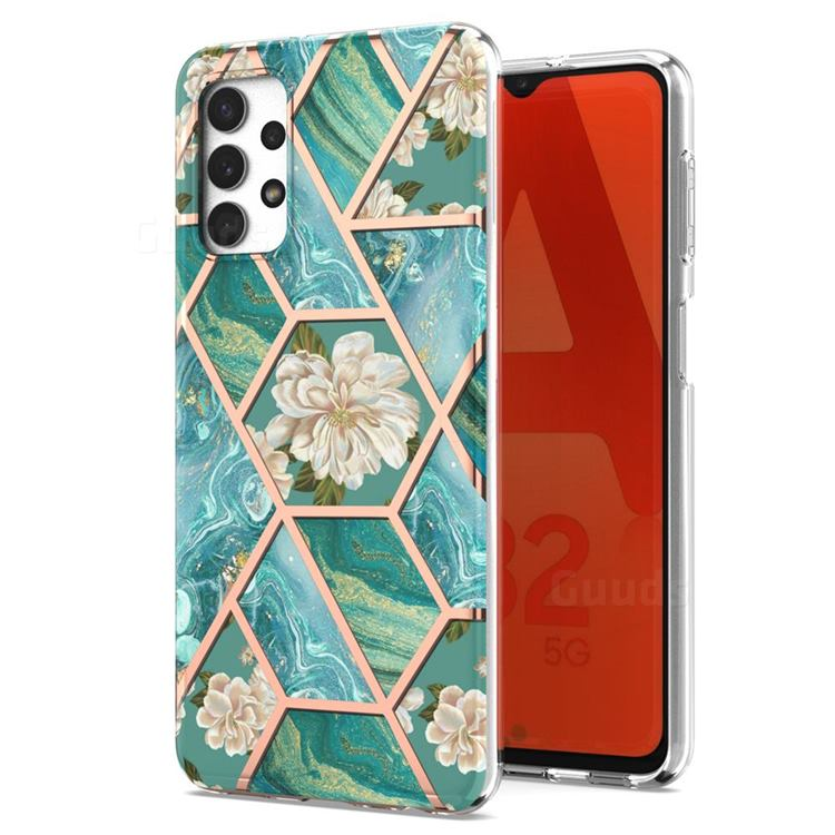 Blue Chrysanthemum Marble Electroplating Protective Case Cover for Samsung Galaxy A32 5G