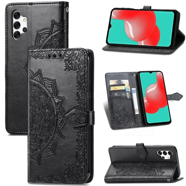 Embossing Imprint Mandala Flower Leather Wallet Case for Samsung Galaxy A32 5G - Black