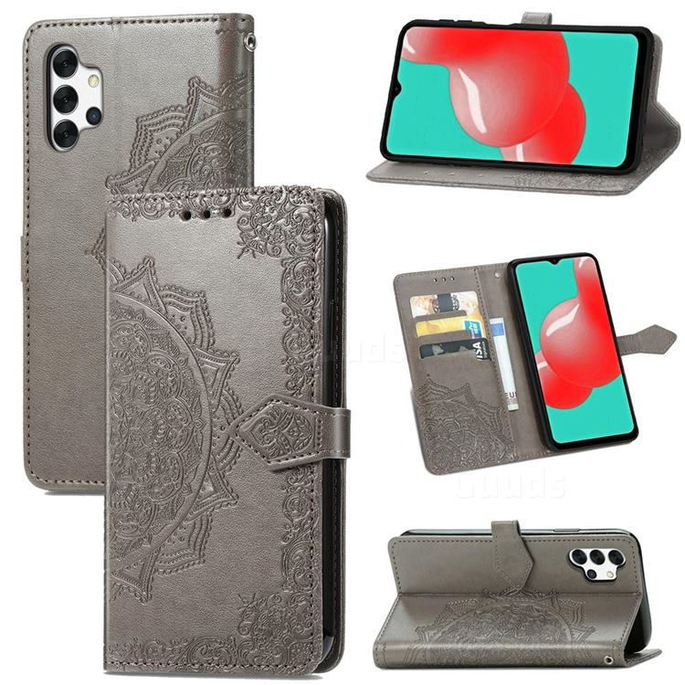 Embossing Imprint Mandala Flower Leather Wallet Case for Samsung Galaxy A32 5G - Gray