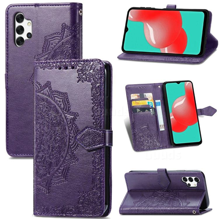 Embossing Imprint Mandala Flower Leather Wallet Case for Samsung Galaxy A32 5G - Purple