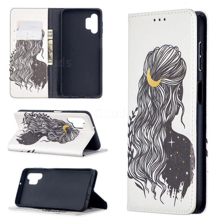Girl with Long Hair Slim Magnetic Attraction Wallet Flip Cover for Samsung Galaxy A32 5G