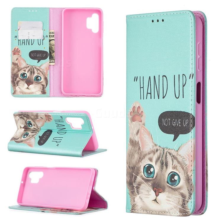 Hand Up Cat Slim Magnetic Attraction Wallet Flip Cover for Samsung Galaxy A32 5G