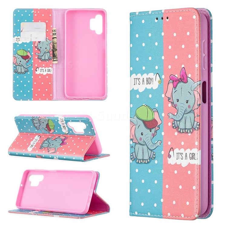 Elephant Boy and Girl Slim Magnetic Attraction Wallet Flip Cover for Samsung Galaxy A32 5G