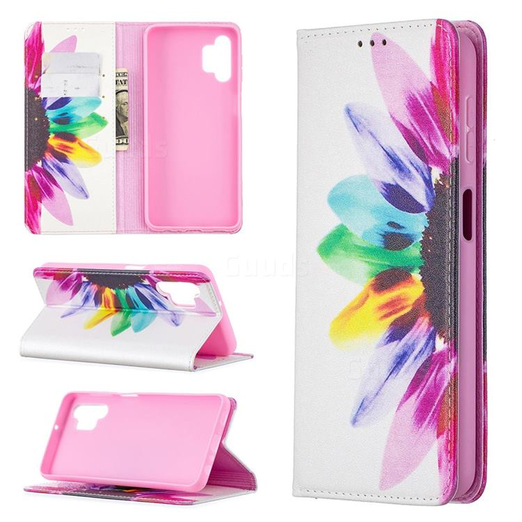 Sun Flower Slim Magnetic Attraction Wallet Flip Cover for Samsung Galaxy A32 5G