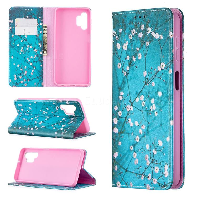 Plum Blossom Slim Magnetic Attraction Wallet Flip Cover for Samsung Galaxy A32 5G