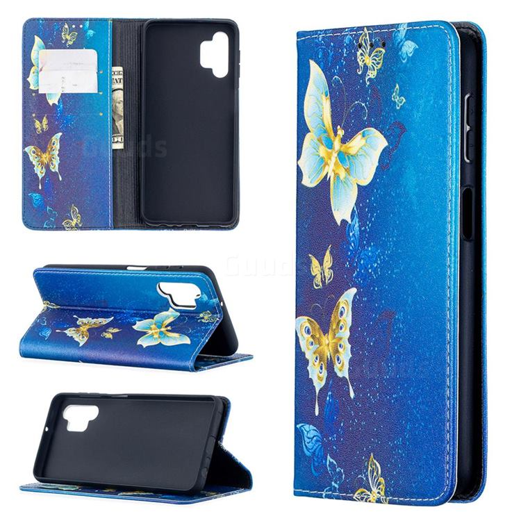 Gold Butterfly Slim Magnetic Attraction Wallet Flip Cover for Samsung Galaxy A32 5G