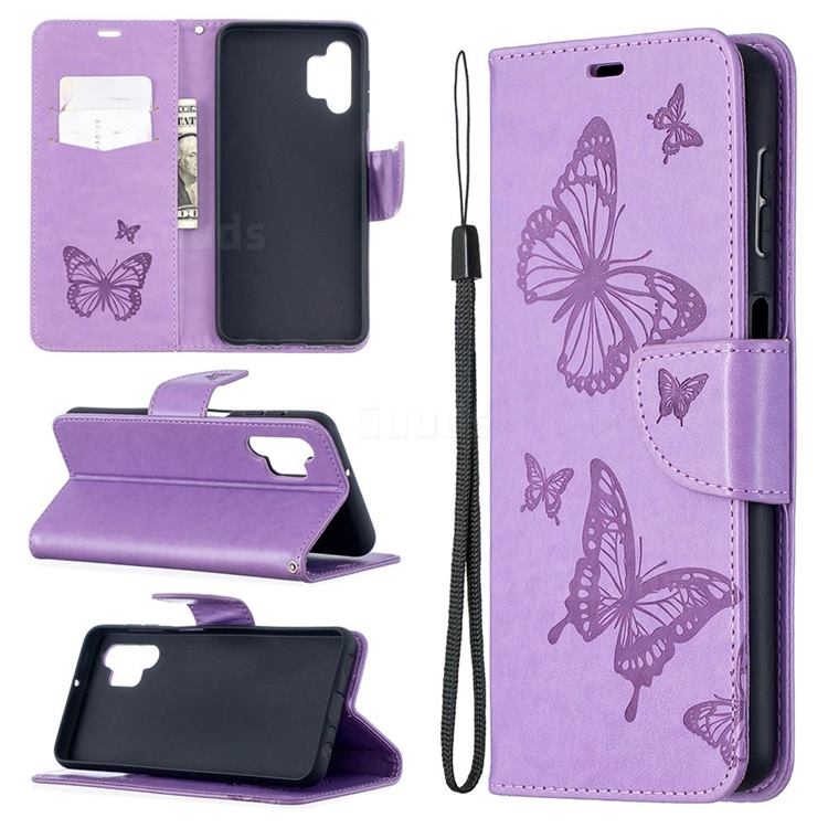 Embossing Double Butterfly Leather Wallet Case for Samsung Galaxy A32 5G - Purple