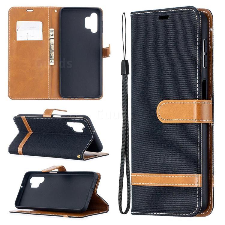 Jeans Cowboy Denim Leather Wallet Case for Samsung Galaxy A32 5G - Black