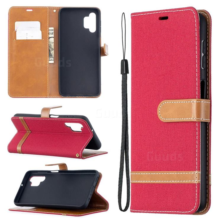 Jeans Cowboy Denim Leather Wallet Case for Samsung Galaxy A32 5G - Red