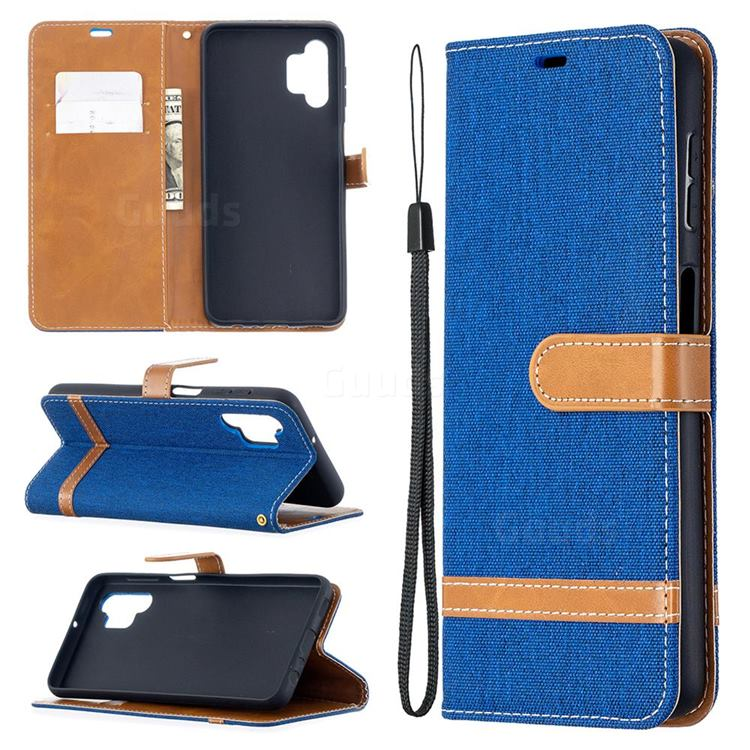 Jeans Cowboy Denim Leather Wallet Case for Samsung Galaxy A32 5G - Sapphire