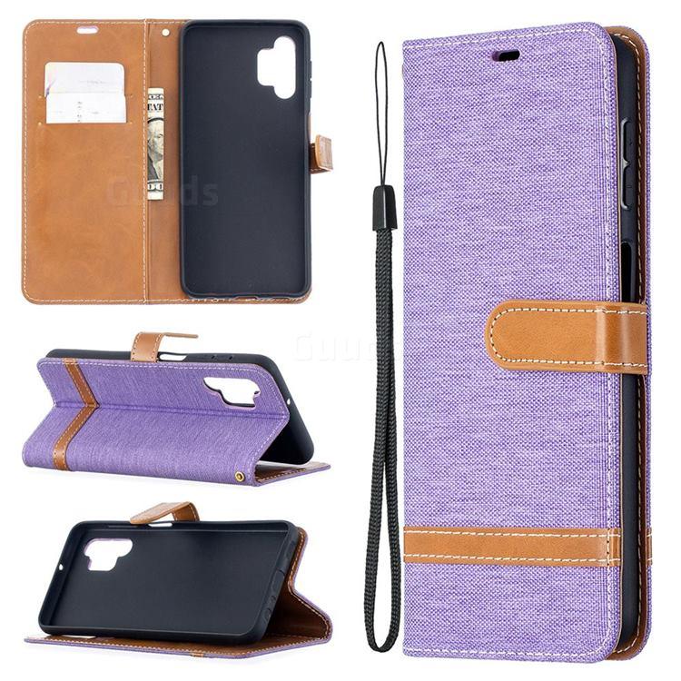 Jeans Cowboy Denim Leather Wallet Case for Samsung Galaxy A32 5G - Purple