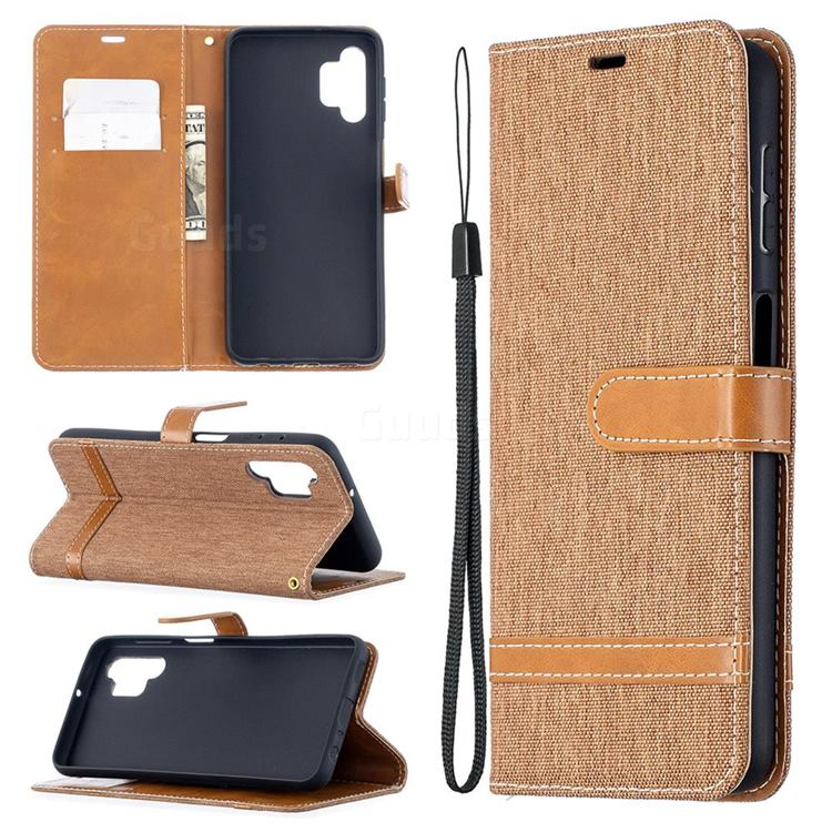 Jeans Cowboy Denim Leather Wallet Case for Samsung Galaxy A32 5G - Brown