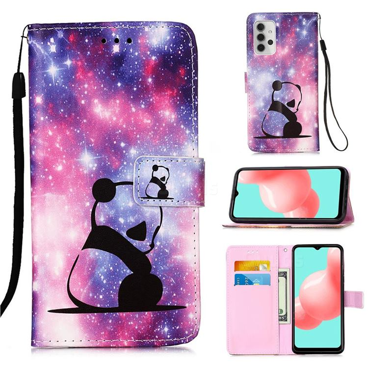 Panda Baby Matte Leather Wallet Phone Case for Samsung Galaxy A32 5G