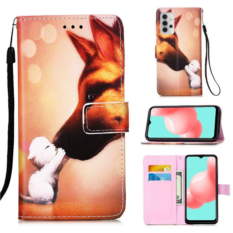 Hound Kiss Matte Leather Wallet Phone Case for Samsung Galaxy A32 5G