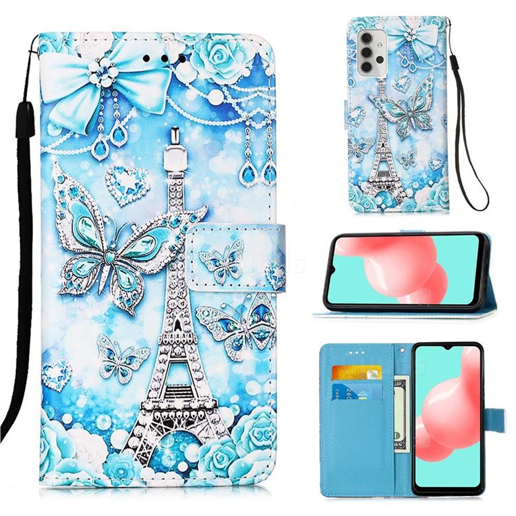 Tower Butterfly Matte Leather Wallet Phone Case for Samsung Galaxy A32 5G