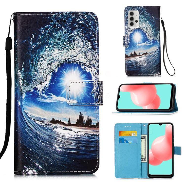 Waves and Sun Matte Leather Wallet Phone Case for Samsung Galaxy A32 5G