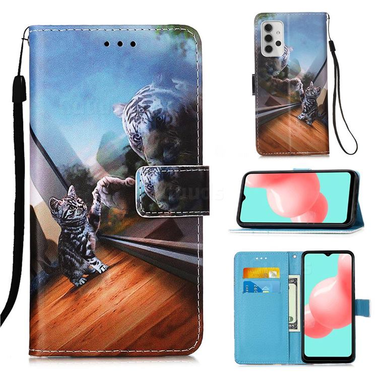 Mirror Cat Matte Leather Wallet Phone Case for Samsung Galaxy A32 5G