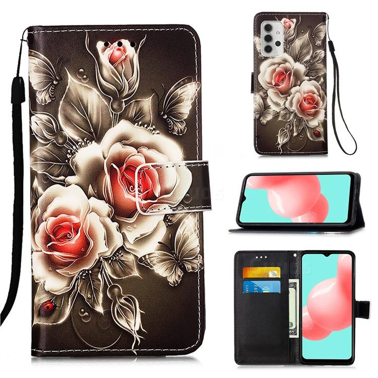 Black Rose Matte Leather Wallet Phone Case for Samsung Galaxy A32 5G
