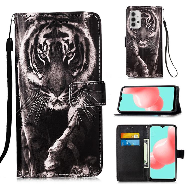 Black and White Tiger Matte Leather Wallet Phone Case for Samsung Galaxy A32 5G