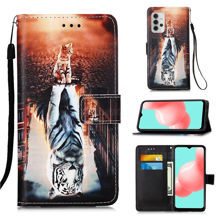 Cat and Tiger Matte Leather Wallet Phone Case for Samsung Galaxy A32 5G