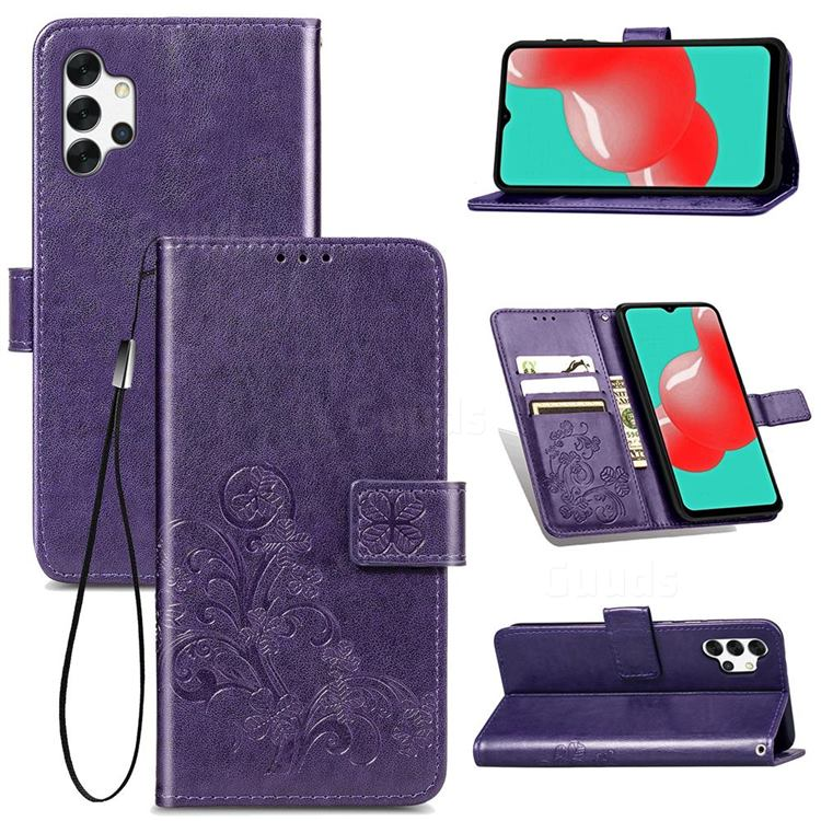 Embossing Imprint Four-Leaf Clover Leather Wallet Case for Samsung Galaxy A32 5G - Purple