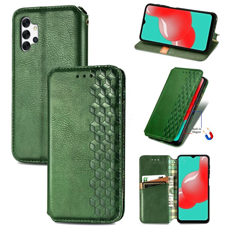 Ultra Slim Fashion Business Card Magnetic Automatic Suction Leather Flip Cover for Samsung Galaxy A32 5G - Green