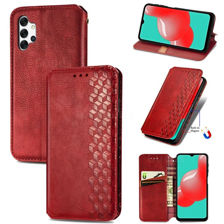 Ultra Slim Fashion Business Card Magnetic Automatic Suction Leather Flip Cover for Samsung Galaxy A32 5G - Red