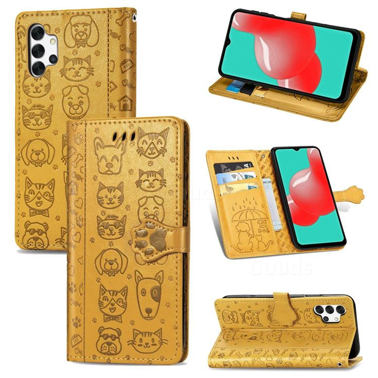 Embossing Dog Paw Kitten and Puppy Leather Wallet Case for Samsung Galaxy A32 5G - Yellow