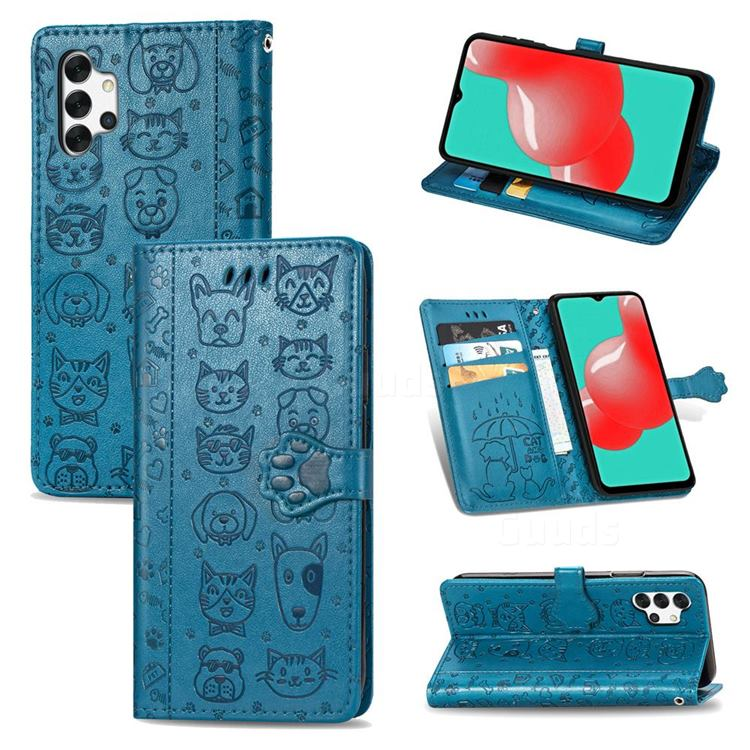 Embossing Dog Paw Kitten and Puppy Leather Wallet Case for Samsung Galaxy A32 5G - Blue
