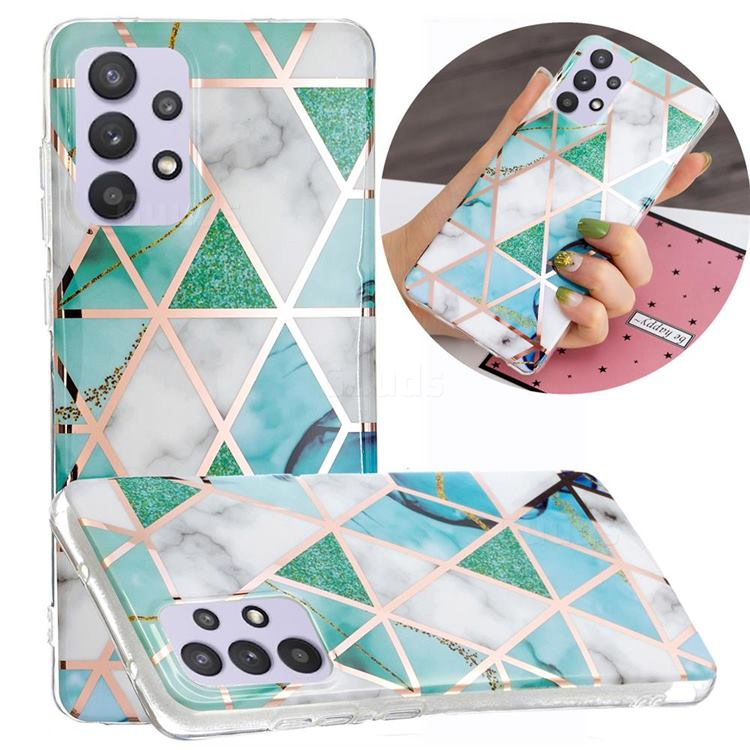 Green White Galvanized Rose Gold Marble Phone Back Cover for Samsung Galaxy A32 5G