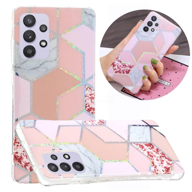 Pink Marble Painted Galvanized Electroplating Soft Phone Case Cover for Samsung Galaxy A32 5G