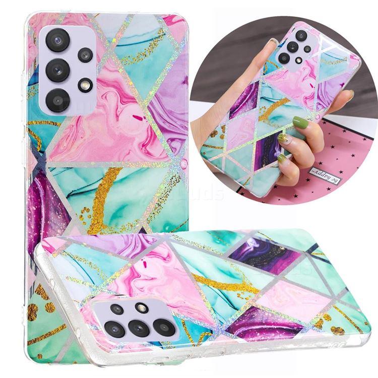 Triangular Marble Painted Galvanized Electroplating Soft Phone Case Cover for Samsung Galaxy A32 5G