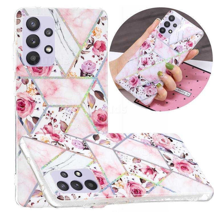 Rose Flower Painted Galvanized Electroplating Soft Phone Case Cover for Samsung Galaxy A32 5G