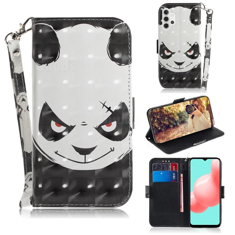 Angry Bear 3D Painted Leather Wallet Phone Case for Samsung Galaxy A32 5G