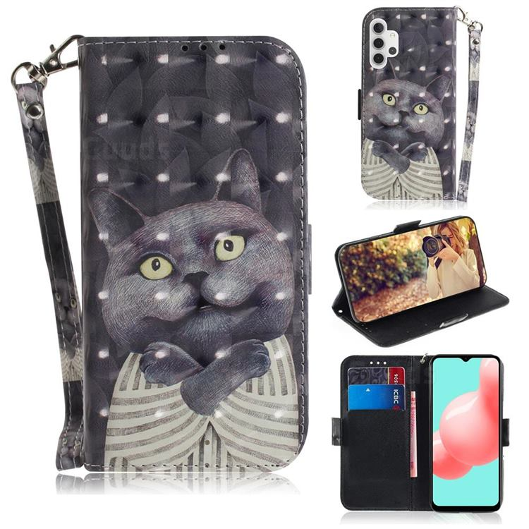 Cat Embrace 3D Painted Leather Wallet Phone Case for Samsung Galaxy A32 5G