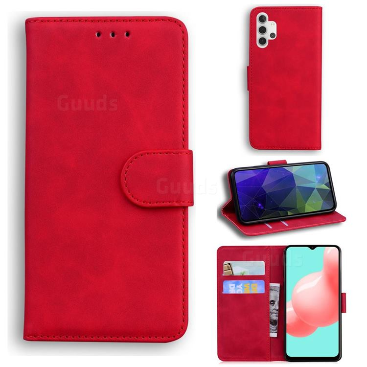 Retro Classic Skin Feel Leather Wallet Phone Case for Samsung Galaxy A32 5G - Red