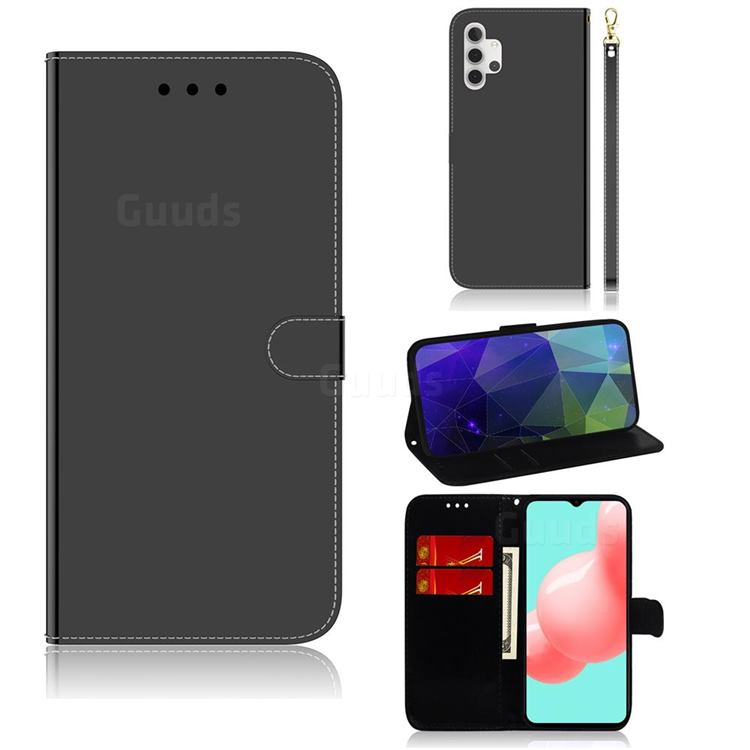Shining Mirror Like Surface Leather Wallet Case for Samsung Galaxy A32 5G - Black