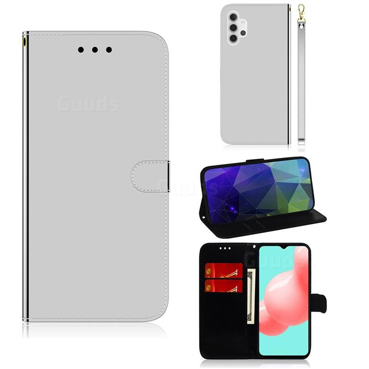Shining Mirror Like Surface Leather Wallet Case for Samsung Galaxy A32 5G - Silver