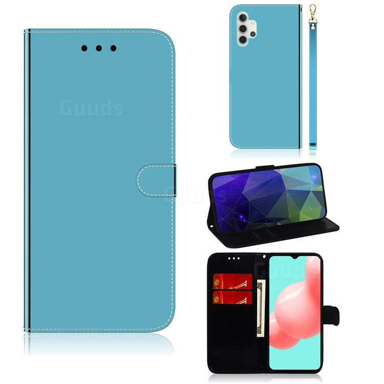 Shining Mirror Like Surface Leather Wallet Case for Samsung Galaxy A32 5G - Blue