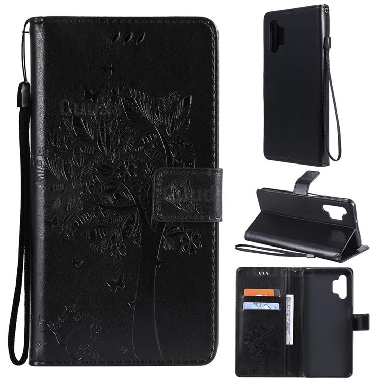 Embossing Butterfly Tree Leather Wallet Case for Samsung Galaxy A32 5G - Black