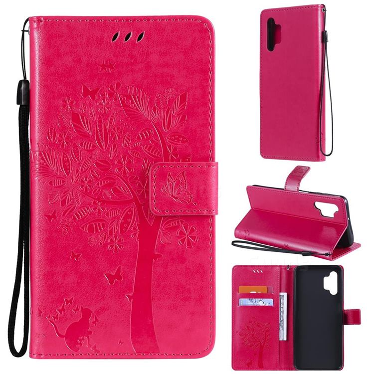 Embossing Butterfly Tree Leather Wallet Case for Samsung Galaxy A32 5G - Rose