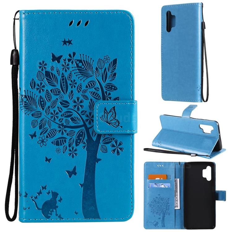 Embossing Butterfly Tree Leather Wallet Case for Samsung Galaxy A32 5G - Blue