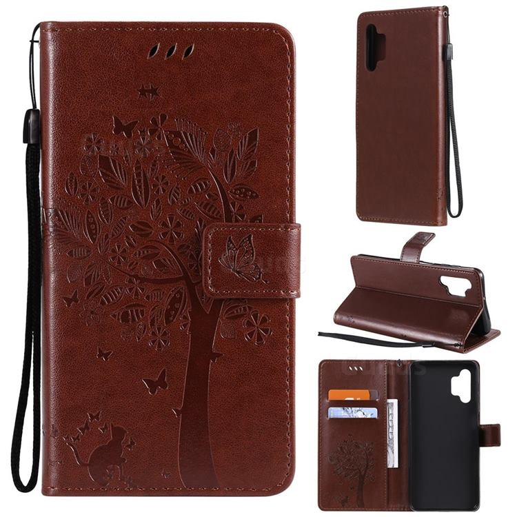 Embossing Butterfly Tree Leather Wallet Case for Samsung Galaxy A32 5G - Coffee