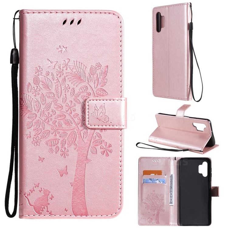 Embossing Butterfly Tree Leather Wallet Case for Samsung Galaxy A32 5G - Rose Pink