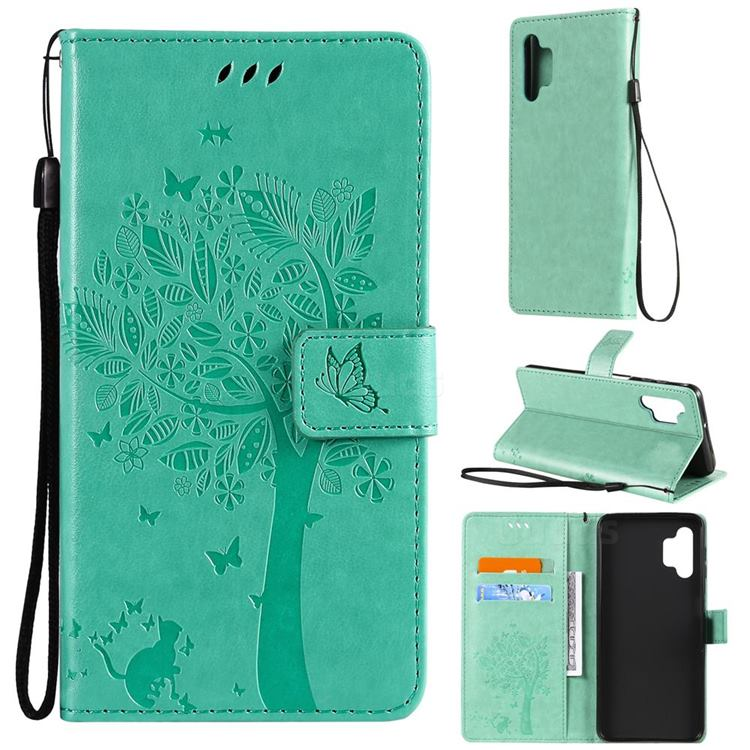 Embossing Butterfly Tree Leather Wallet Case for Samsung Galaxy A32 5G - Cyan