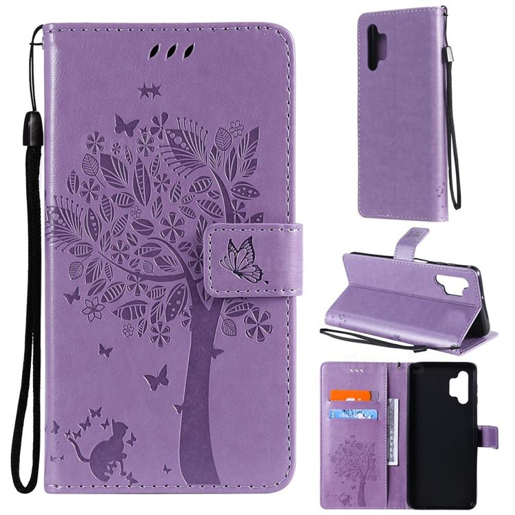 Embossing Butterfly Tree Leather Wallet Case for Samsung Galaxy A32 5G - Violet