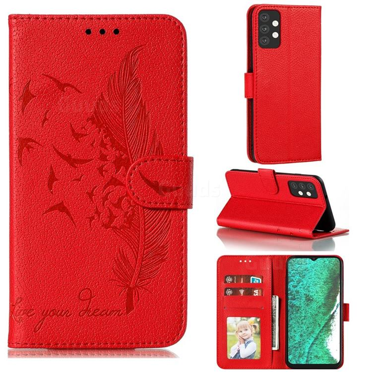 Intricate Embossing Lychee Feather Bird Leather Wallet Case for Samsung Galaxy A32 5G - Red
