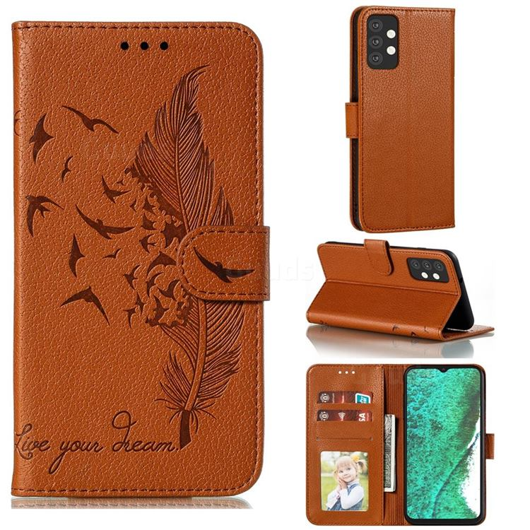 Intricate Embossing Lychee Feather Bird Leather Wallet Case for Samsung Galaxy A32 5G - Brown